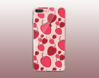 Strawberry Fruit Clear TPU Phone Case for iPhone 8- iPhone 8 Plus - iPhone X - iPhone 7 Plus-iPhone 7-iPhone 6-iPhone 6S-Samsung S8