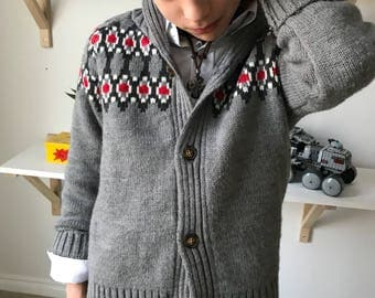 Zack - Gray knit - boy Cardigan
