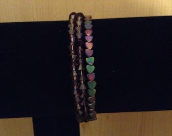 Heart and purple crystal memory wire coil bracelet