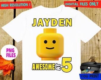 Lego, Iron On Transfer, Lego DIY Iron On Transfer, Lego Birthday Shirt DIY, Digital Files, Lego Personalize, PNG Files.