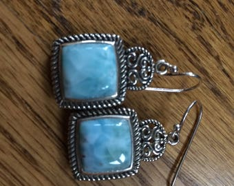 LARIMAR and Sterling Silver French Hook Earrings