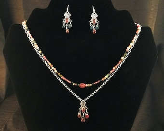 Tourmaline Dual Strand Necklace and Earring Set