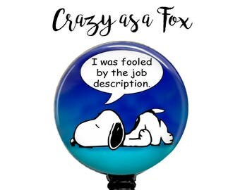 Snoopy humorous Retractable Badge Holder, Badge Reel, Lanyard, Stethoscope ID Tag, Nurse, RN, Doctor, Teacher, Nursing student