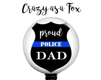 Proud Police Dad Retractable Badge Holder, Police TBL Badge Reel, Lanyard, Stethoscope ID Tag, Nurse, RN, Doctor, Teacher Gift