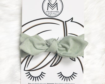Suzie Bow Elastic Back Headwrap Olive and White Stripe / Striped Headwrap / Green Headwrap / St Pattys Day Headwrap / St Pattys Day Bow
