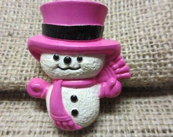 Vintage Avon Fragrance Glace Pin, Wee Willy Winter Snowman Plastic Brooch