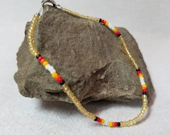 Traditional Native-Crafted Light Yellow Beaded Bracelet