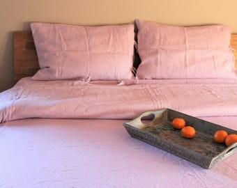 Linen Duvet cover Pink Stone washed Bedlinen Set  in handmade,custom sizes available