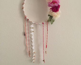 Floral, lace, beaded wall decor