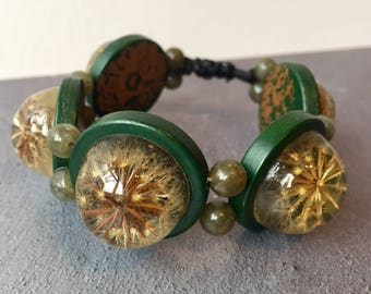 Resin Bracelet, Dandelion star adjustable pull bracelet