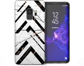 Samsung Galaxy S9 Case Marble Effect Geometric Patterned Cover Samsung Galaxy S9 Plus Cases Best Triangle Pattern Silicone TPU Gel Covers