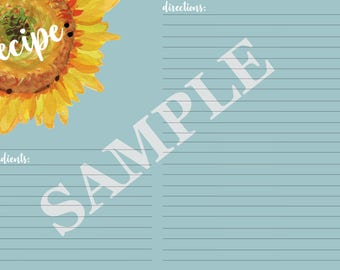 Sunflower recipe cards 4x6, recipe cards, cooking cards, printable cards, recipe card holder, blue sunflower recipe cards, 4x6 recipe cards