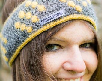 Grey/yellow headband with dots