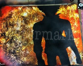 22 x 28 Cowboy Bebop Spray Paint Art
