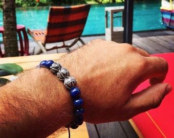 Royal Blue - Lapis Lazuli, Mens Bracelet, Mens Jewelry, Silver Bracelet, Men Luxury Jewelry, Men Beaded Bracelet, Men Gift, Boyfriend Gift