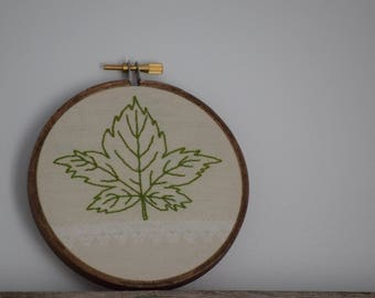 Leaf 4 Inch Hand Embroidered Hoop 2