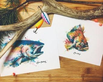 "Art Print Set ""Red Fish, Blue Fish"""