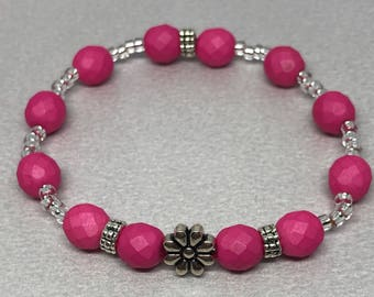 Pink Preciosa Beaded Stretch Bracelet with Toho Seed Beads and Daisy Antique Silver Plated and Spacer Beads.