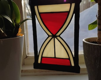 BLEEDING TIME - Handmade custom designed stained glass hourglass!
