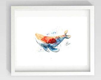Rainbow Whale Watercolor l Archival Quality Print l 8 x 10