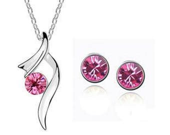 Jewelry Set Necklace & Stud earrings * Silver Pink