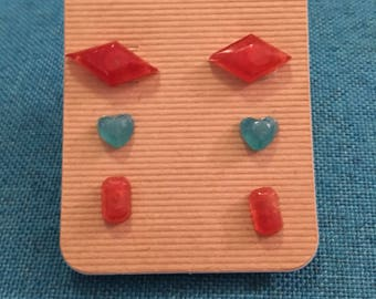 Resin earring set red and blue