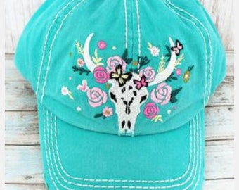 DISTRESSED TURQUOISE FLORAL Steer Cap