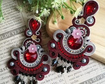 Elegant Red Ruby Crystal Soutache Earrings Statement Chandelier Dangle Ethnic Boho Chic Earrings