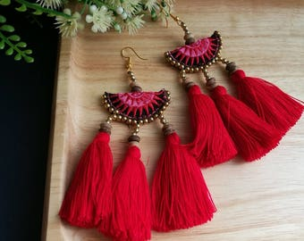 Handcraft Half Moon Embroidered Tribal Ethnic Earrings Statement Dangle Drop Boho Chic Beaded Tassel Red Wedding Earrings