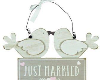 Just Married Plaque, wall hanger