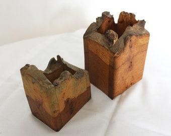 Pair of Rustic Handcrafted Burr Wood Vases/Boxes/Penholders