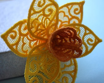 Embroidered Daffodil Brooch