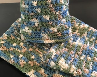 Handmade Crochet Star Stitch Scully and Matching Infinity Scarf