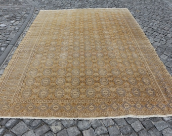 King size turkish rug, Free Shipping low pile excellent condition turkey rug 7.3 x 10.5 ft. rustic area rug, hall rug, cultural rug, MB464