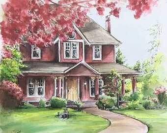 house and landscape painting