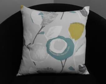 "Vibrant cushion cover in John Lewis Ilsa fabric. Grey, turquoise, lime and white 16"" x 16"", same fabric front and back, button fastening"