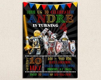 Lego Nexo Knights Invitation, Lego Nexo Knights Birthday, Lego Nexo Knights Party, Lego Nexo Knights Birthday Invitation, Lego Nexo Knights