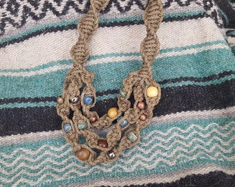 3 Tiered Beaded Thick Hemp Necklace