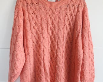Cable Knit Sweater / Oversized Sweater / 80's Vintage