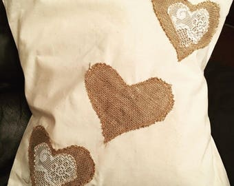 Hessian and lace cushions