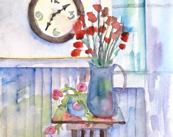 ORIGINAL. Large Clock, Blue Pitcher with Red Flowers and Pink Geraniums, Original Watercolor Painting