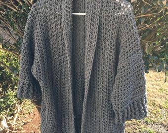 Gray Chunky Cardigan | Crocheted Cardigan