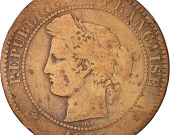france cérès 10 centimes 1873 paris vg(8-10) bronze km815.1