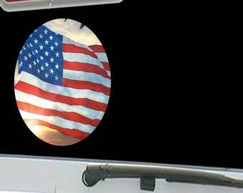 American Flag Waving with the Sun Shining
