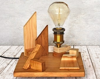 Wooden table/ceiling lamp and warm light
