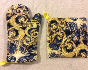 Dr. Who's Exploding Tardis Oven Mitt and Hot Pad
