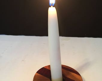 flat wooden candle holder