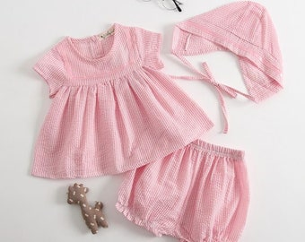 Pink shorts, top and matching hat