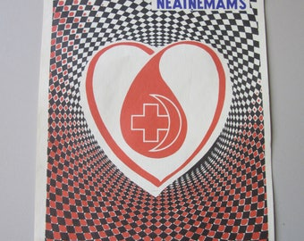 "small   Poster  "" Be a Blood Donor  ""  from Soviet times Russia - Latvia USSR  y 1975"