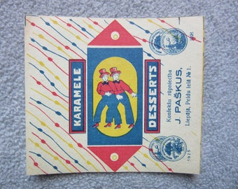 "old Candy Bon Bon Wrapper  "" DESSERT ""from Latvia  1930ies"